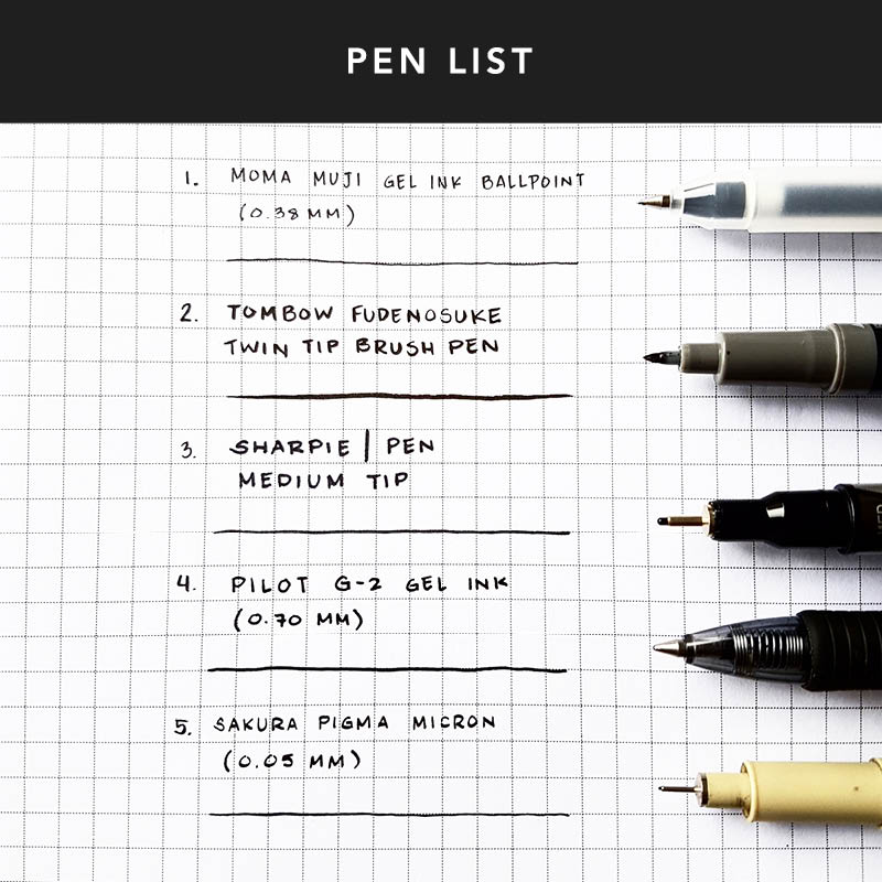 The pen you use with your Passion Planner is one of the most important decisions. Here are a few of the pens we use in our layouts: Muji Gel Ink Ballpoints, Tombow Fudenosuke Twin Tip Brush Pens, Sharpie Pens, Pilot G2s, and Sakura Pigma Microns. These pens both write extremely well and don't bleed through your pages.
