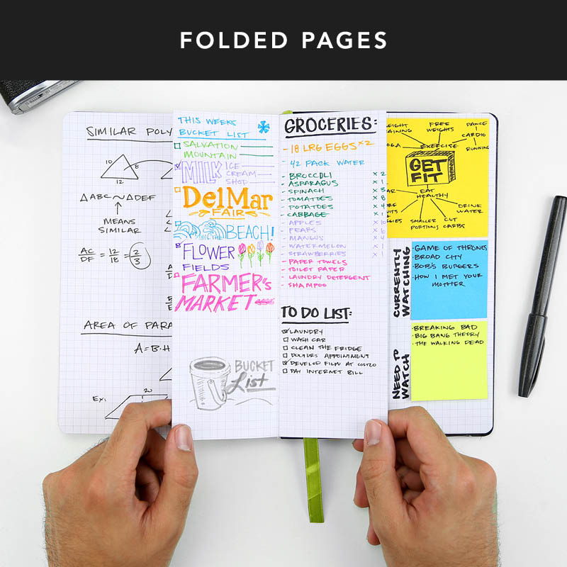 Want to jot down a couple notes or make a quick list without wasting too much space? Try folding your pages in half to create smaller sections so you can utilize all the space!