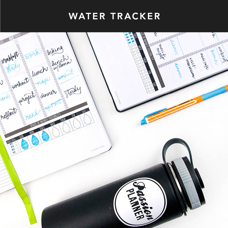 Stay hydrated by keeping track of your water intake. Click to download our water tracker which fits perfectly into your Passion Planner!