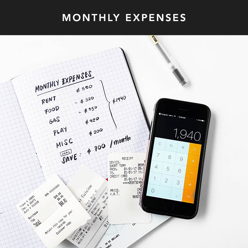 Use the gridded pages in the back to calculate your monthly expenses & set an amount to set aside for your savings. Stick to it and see how much you can save!