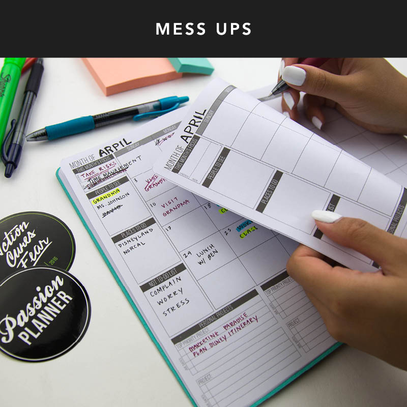 Messing up in your planner can be frustrating especially if you're a perfectionist. One of the benefits of using an undated planner is that if you mess up on a weekly or monthly spread, you can easily start fresh on one of the undated pages!
