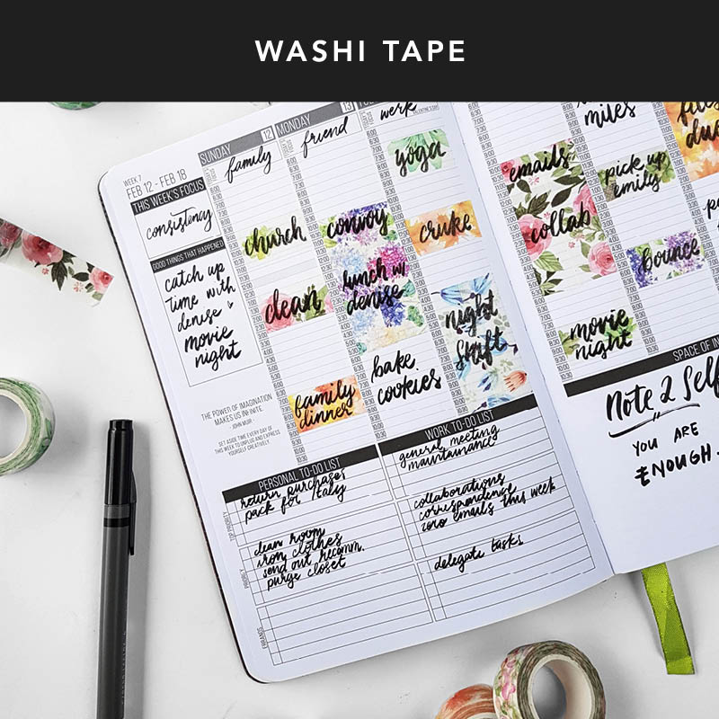 One way to use washi tape is to add color to your Passion Planner! We love using washi tape to block off chunks of our time in our weekly layouts.