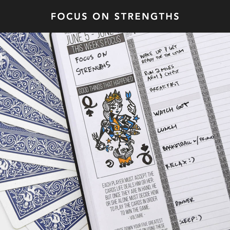 Write down your five greatest strengths. Focus on using these strengths to your advantage this week to complete your tasks.