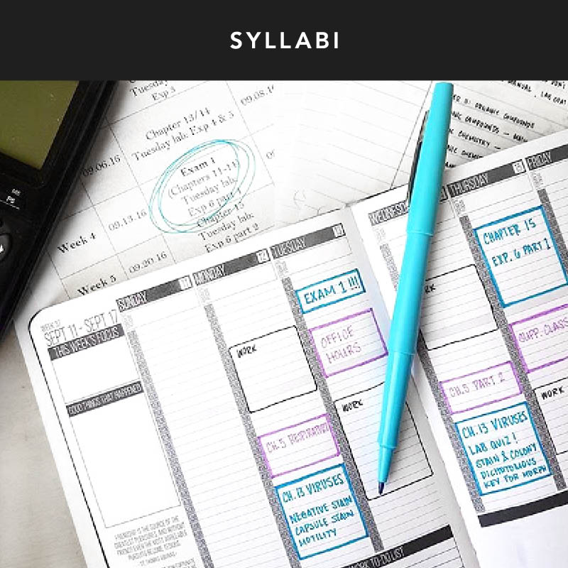 Look over your syllabus for the semester and start scheduling in when exams are or when projects are due. That way, you can plan when to start reviewing and working on a big presentation!
