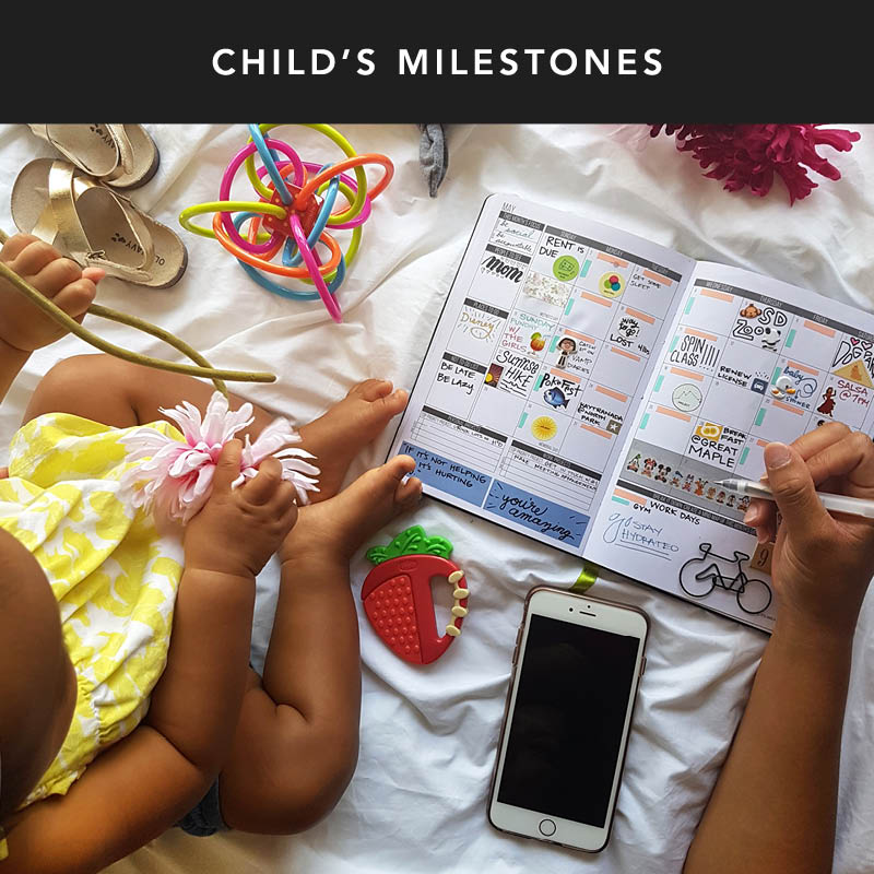 Take advantage of the space in your Passion Planner to keep track of milestones that your children reach! Be sure to add in your favorite polaroids too! It'll be a great keepsake when you look back at the end of the year.