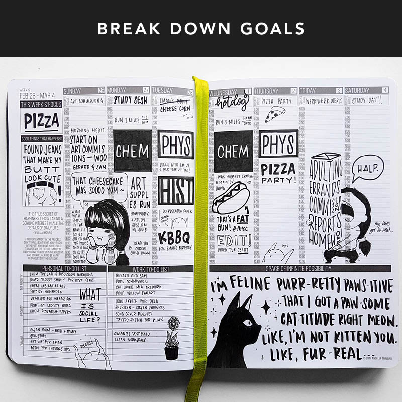 Feeling daunted? Anxiety can paralyze us from completing our goals... but no worries! Use the weekly layout in your Passion Planner to break down your goals into small, actionable steps that are easy for you to keep track of!