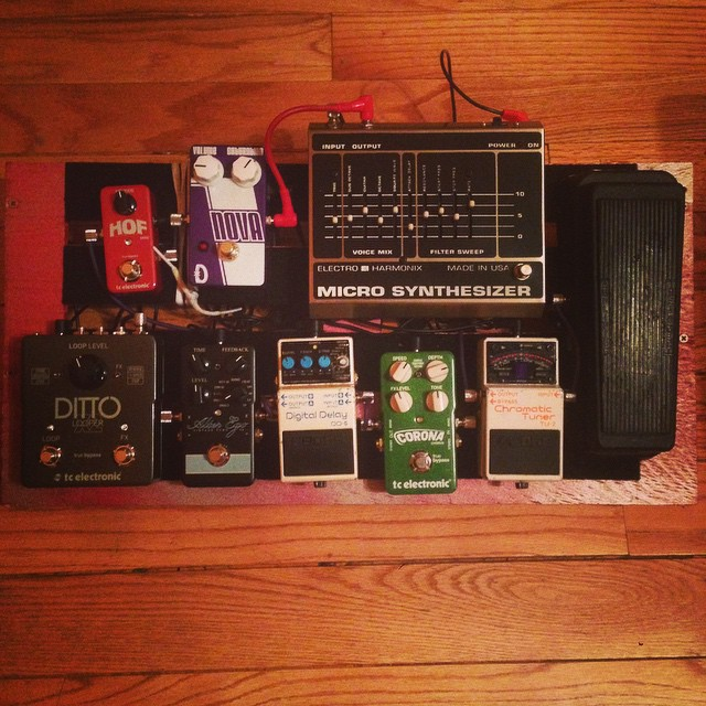 Sergio's first pedalboard! Come see it in action THIS FRIDAY at QUENCHERS SALOON! 930pm! Shoutouts to @chicagomusicexchange for the awesome pedalboard advice (and for feeding Sergio's ever growing  pedal purchasing addiction!) #pedaladdict #quenchers #pleasedontrobme