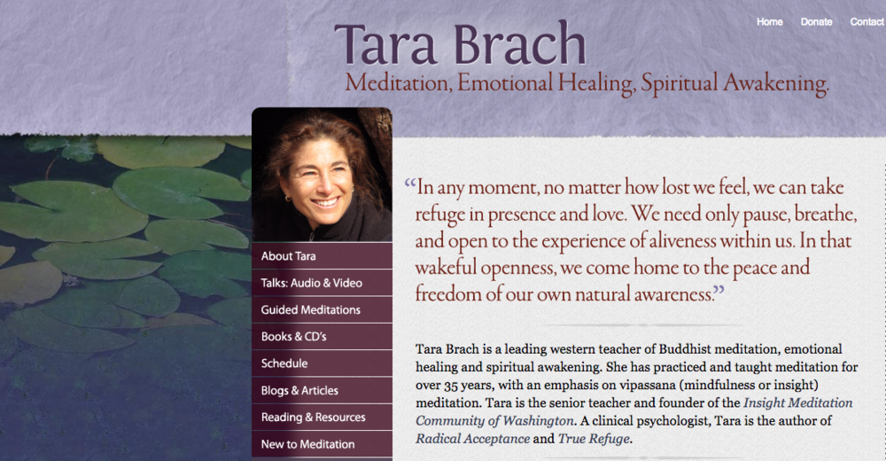 Sample website homepage for Tara Brach