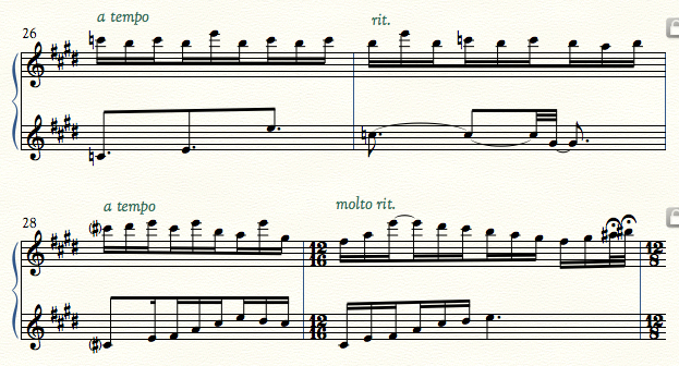 First two bars C natural, second 2 bars C sharp. Opposite harmony to Example 1.