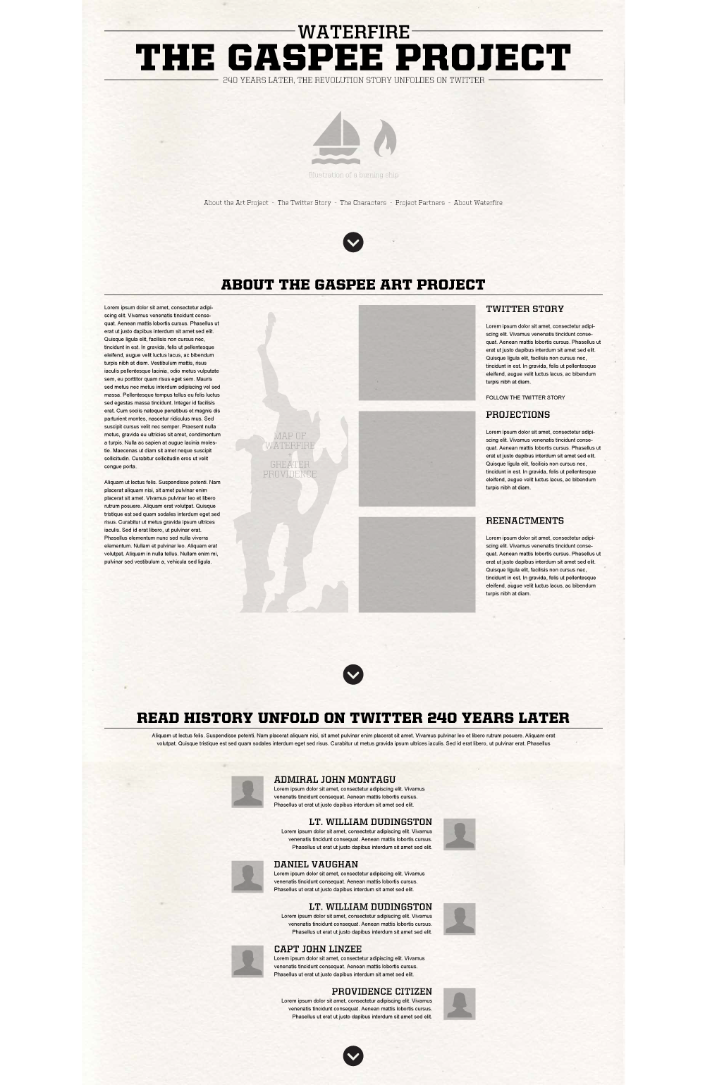 Wireframes for the event microsite