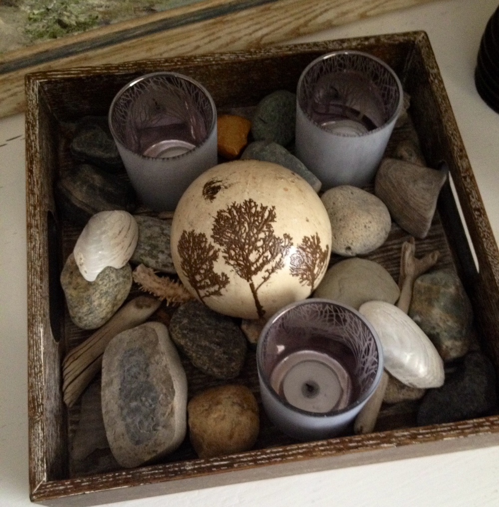 Wooden Tray, Beach Stones, Driftwood, Shells, Tree Silhouette Tealight Holders, Tree Themed Decor