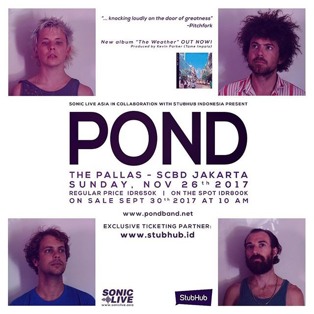 "Just Announced by @sonicliveasia ! . MAJOR ALERT! @ponderers will  #PaintJakartaSilver with their latest album, ""The Weather"". Get more info at www.soniclive.asia"