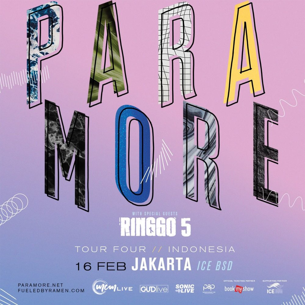 PARAMORE - Tour Four // Indonesia with special Guest RINGGO 5. Feb 16th 2018, ICE BSD, South Tangerang. This event is promoted by @SonicLiveAsia.