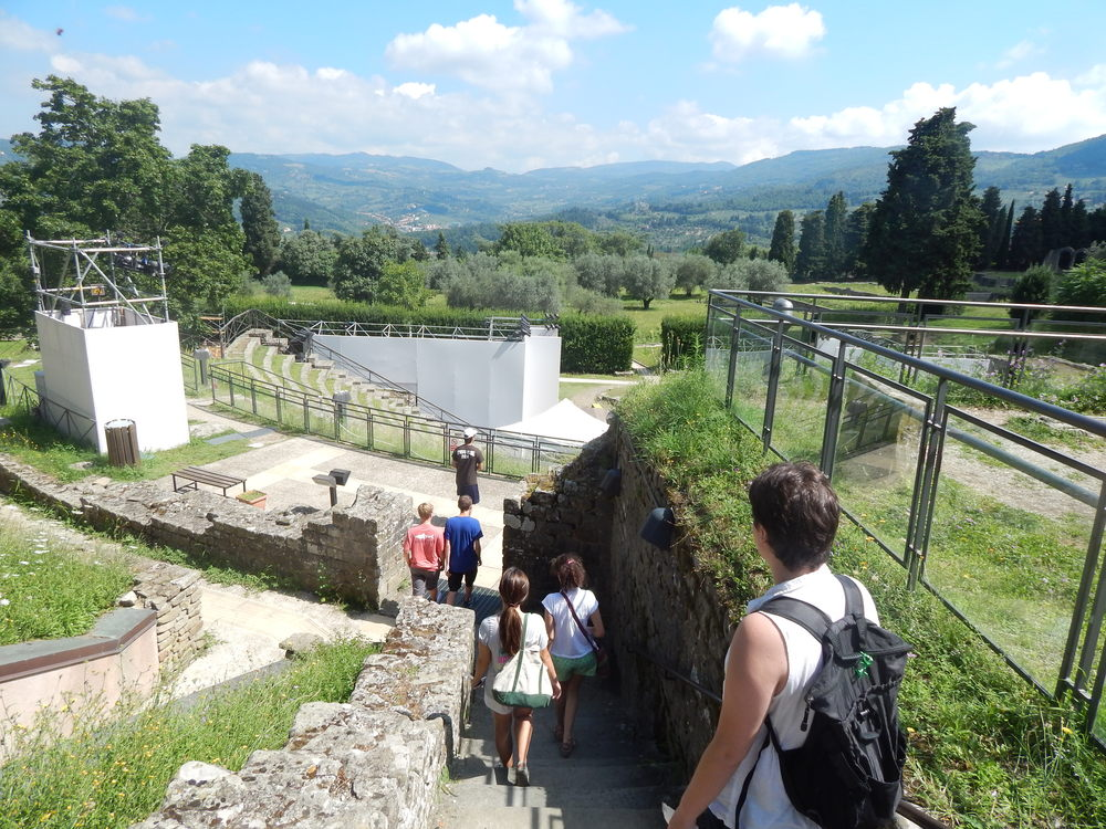 Making our way through Etruscan ruins overlooking the town of Fiesole