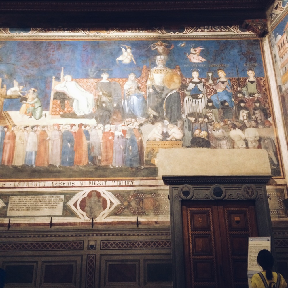The frescoes on the wall of the Town Hall of what a good government looks like. By Sadie Holmes