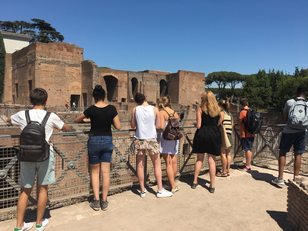 Crispin and the students admire Nero's staircase