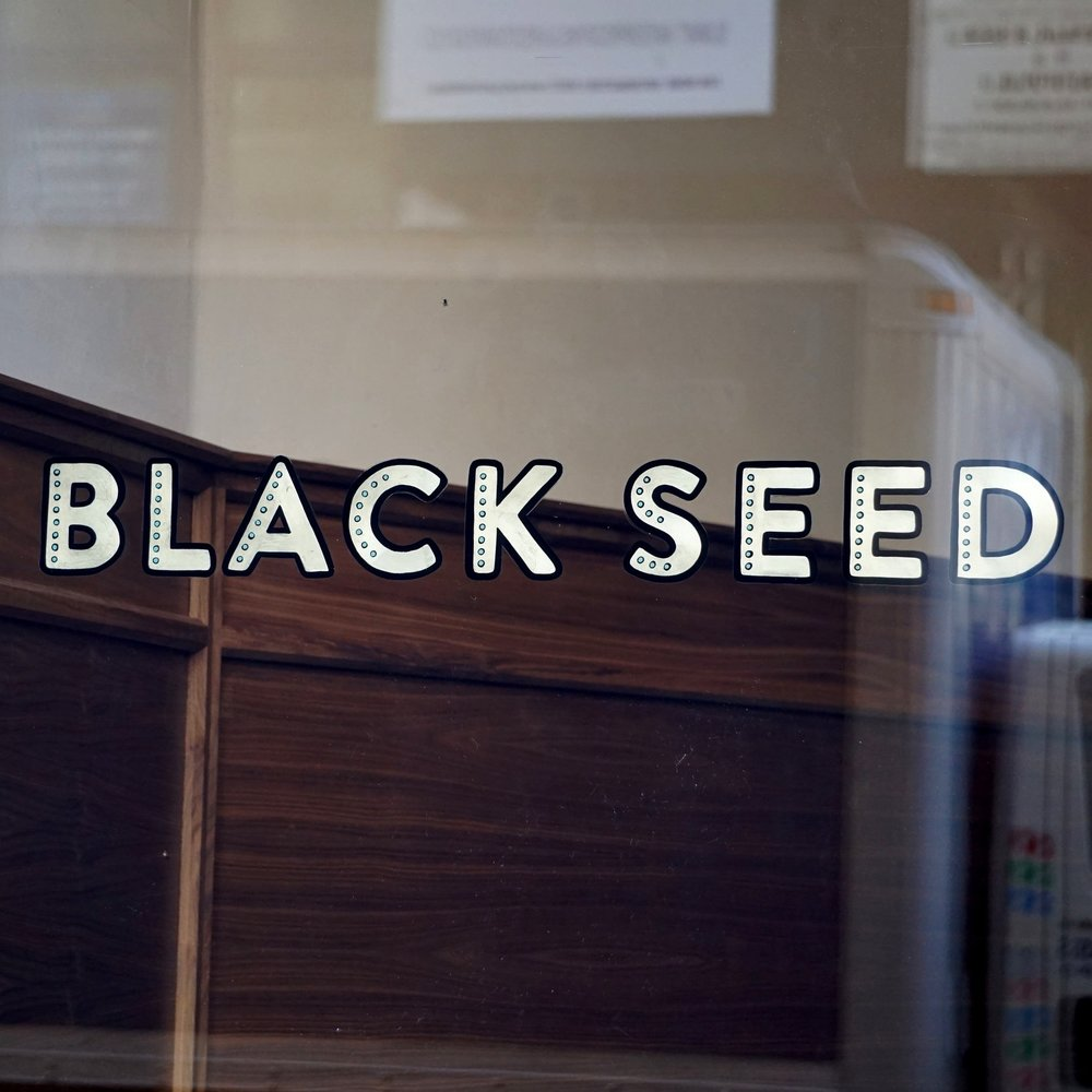 Black Seed   Sign Design, Sign Fabrication, Handpainting, Gold Leaf
