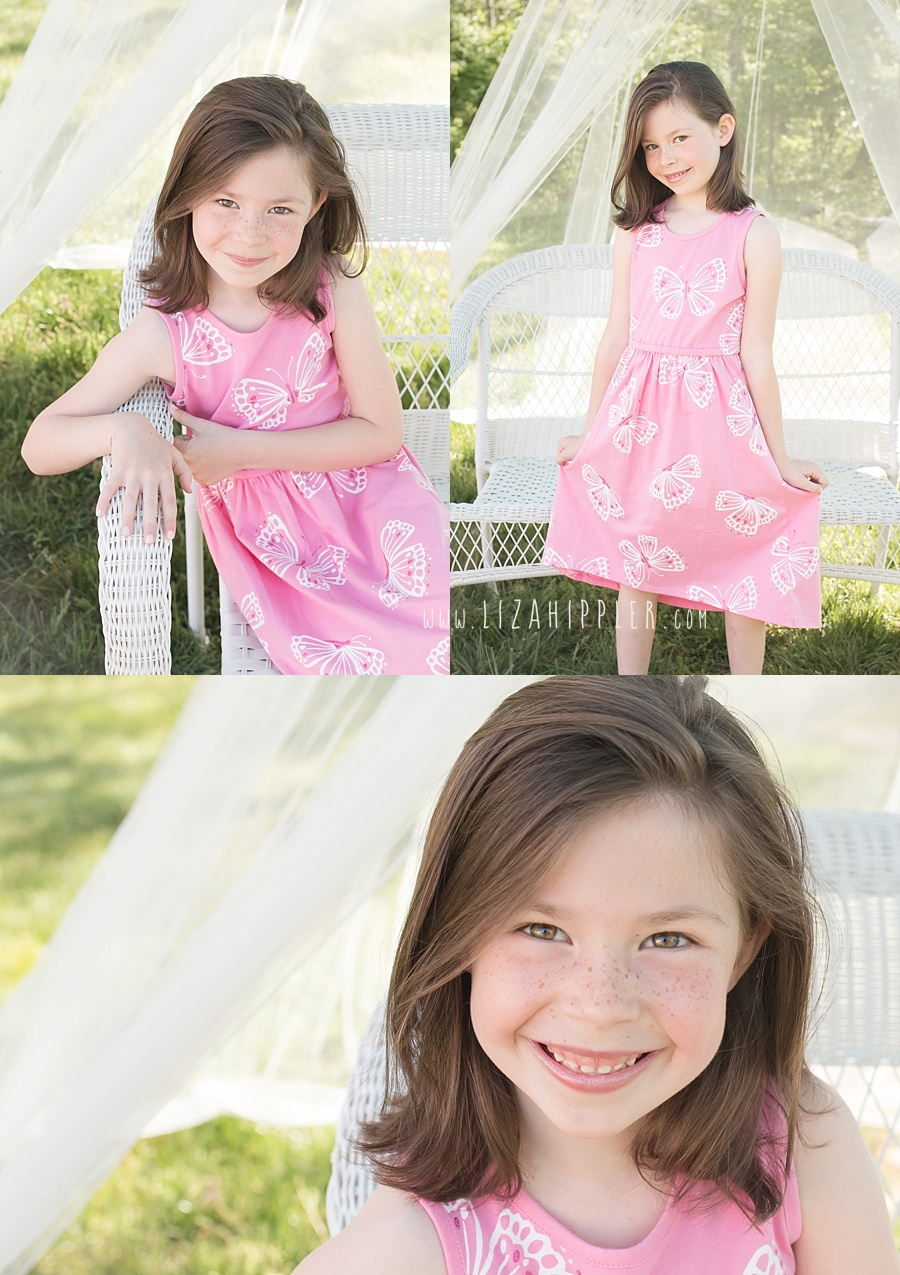 three image collage of six year old girl in a pink dress outside