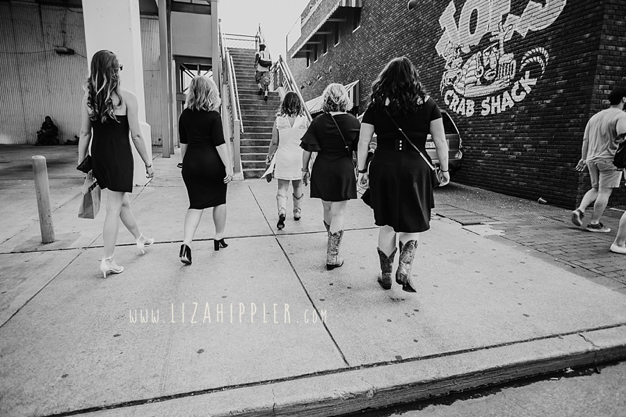 downtown nashville bridal party black and white