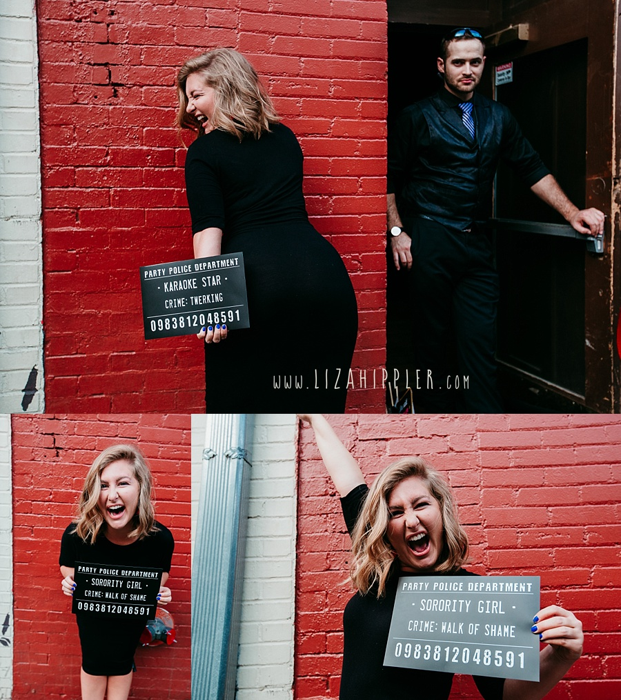 "Nashville TN bachelorette party girl holding ""karaoke star"" crime sign in Nashville laughing"