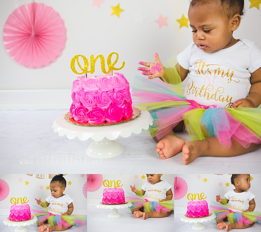 pink and gold first birthday cake smash session