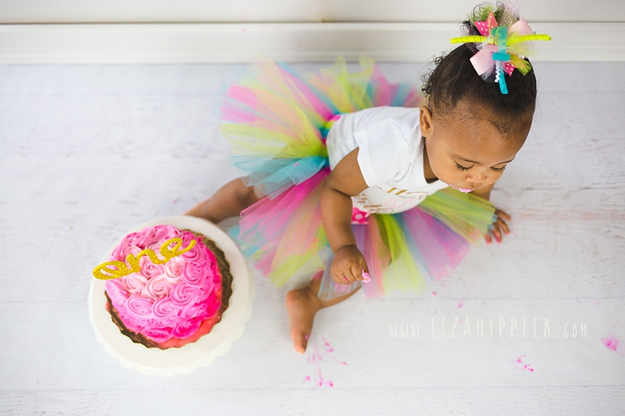 photo from above of one year old girl in pink tutu and pink cake