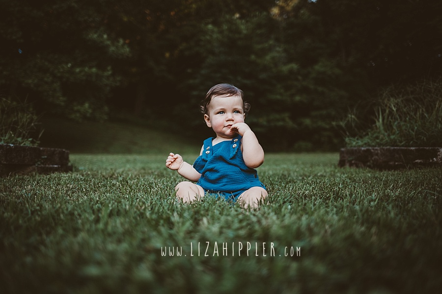adorable baby boy in a blue outfit sits in grass