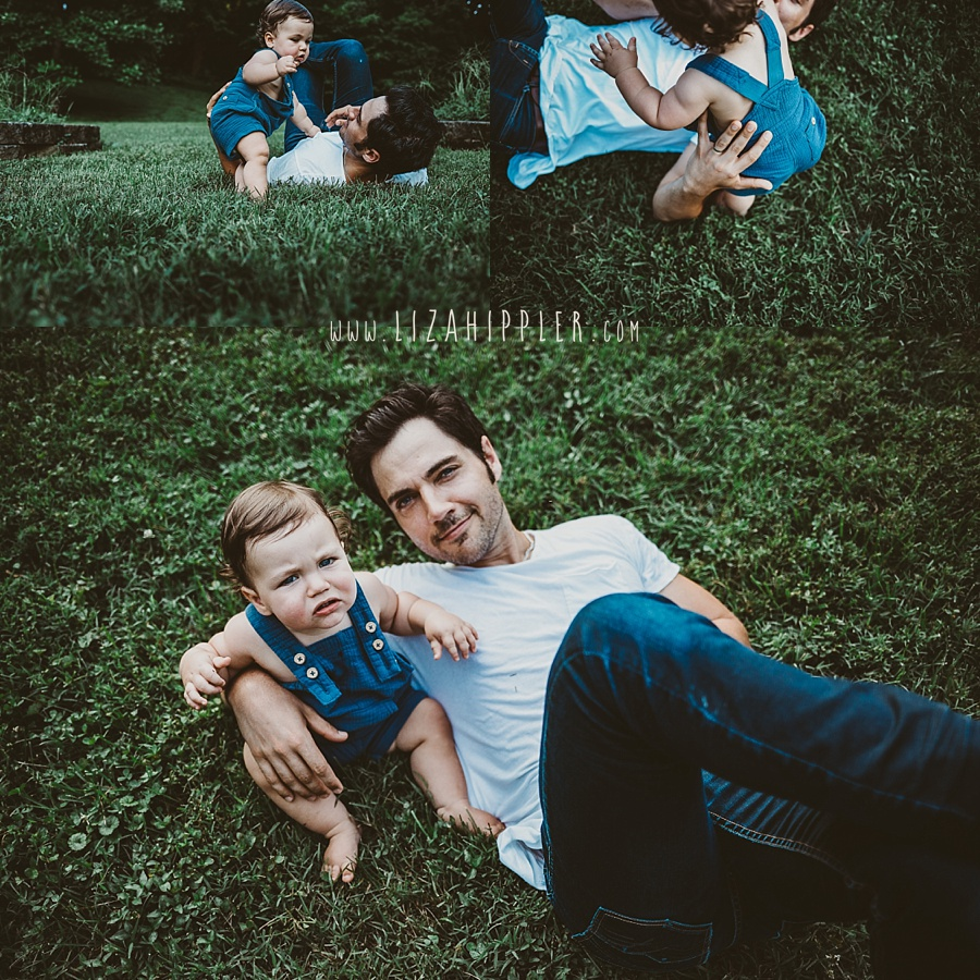 blue eyed dad and young son playing in a field