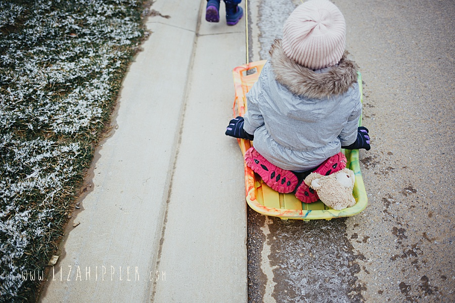 photos from behind of big sister being pulled on sled