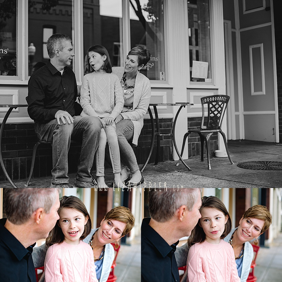 family of three hangs out outside ice cream shop