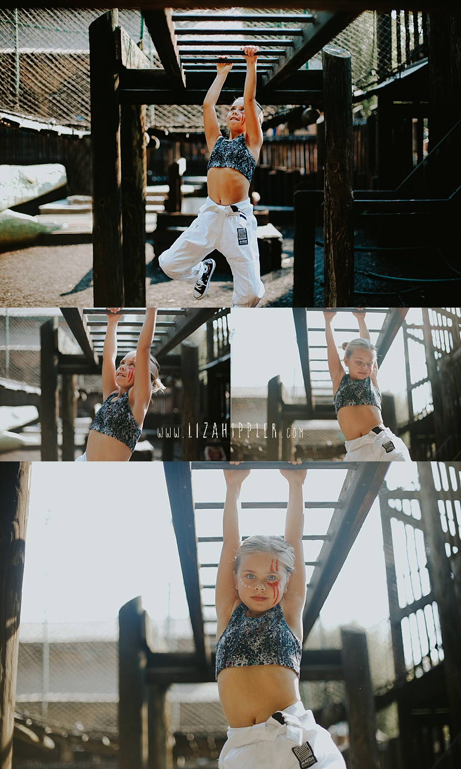 young girl in karate uniform goes across the monkey bars