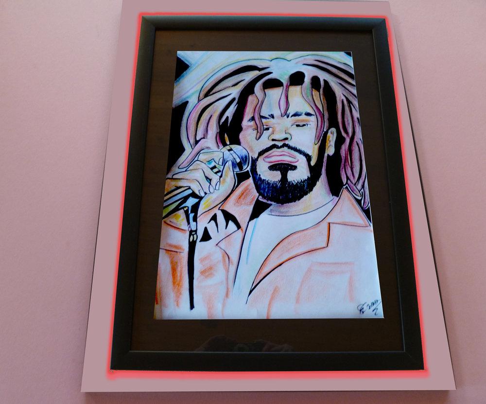 """J Cole. 15"""" x 21"""". $700"""