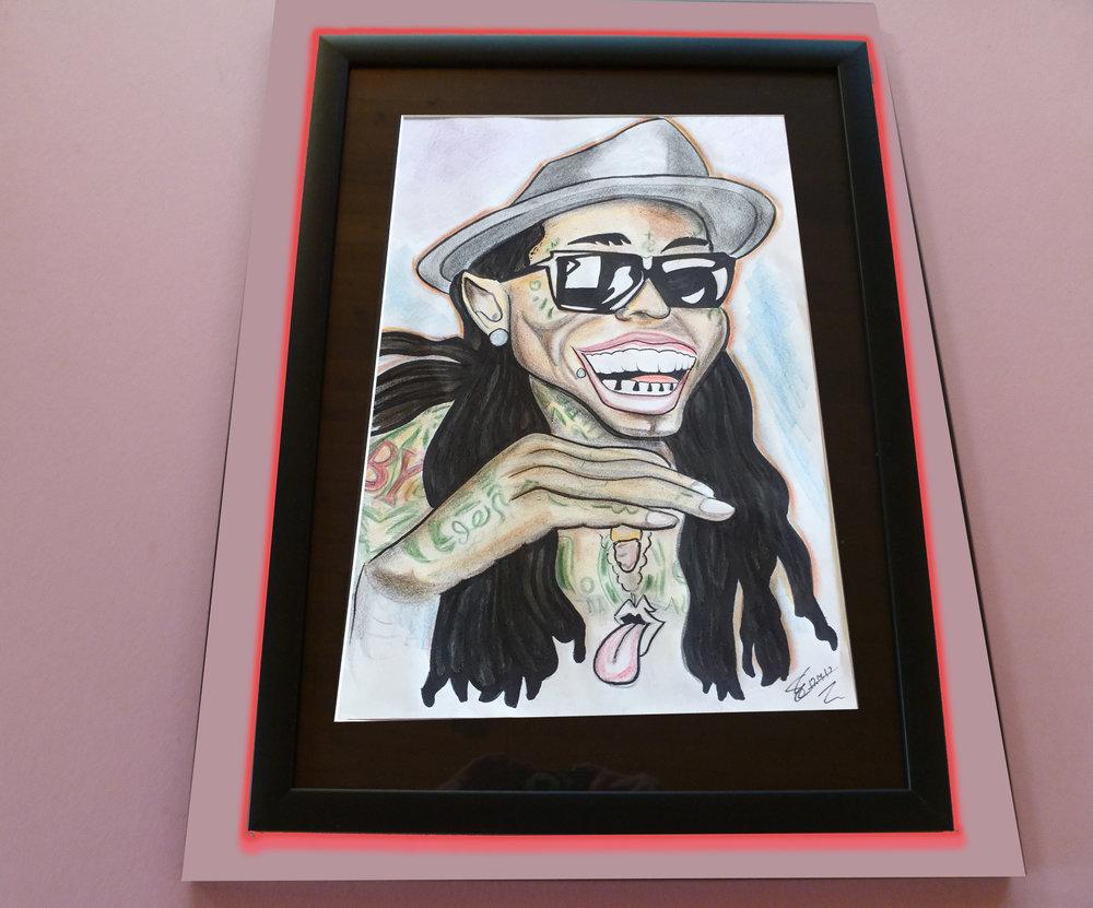 """Lil Wayne. 15"""" x 21"""" Framed & Matted $700"""