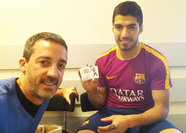Mariano Brignole with Uruguay National team player Luis Suarez