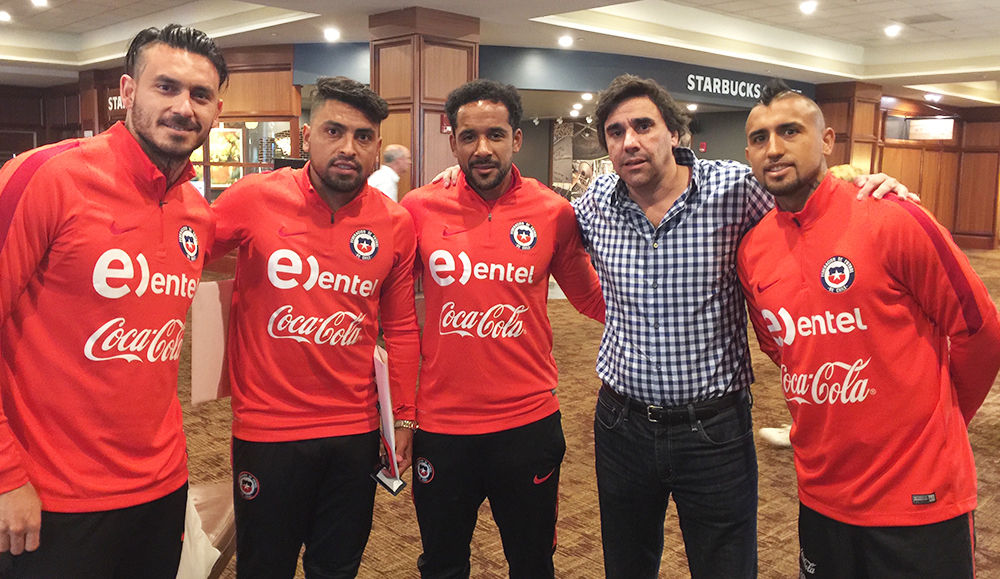 Mauricio Pinilla, Gonzalo Jara, Jean Beausejour, Charlie and Arturo Vidal