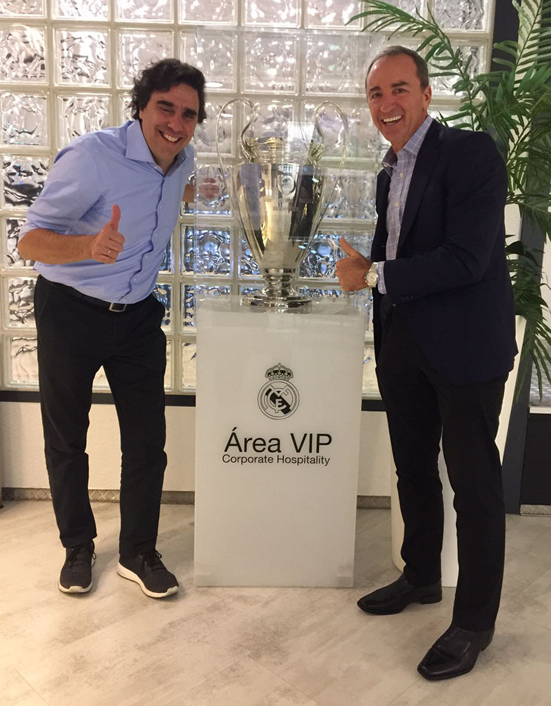 Carlos, Champions League Trophie and Dario in Santiago Bernabeu Stadium, Madrid