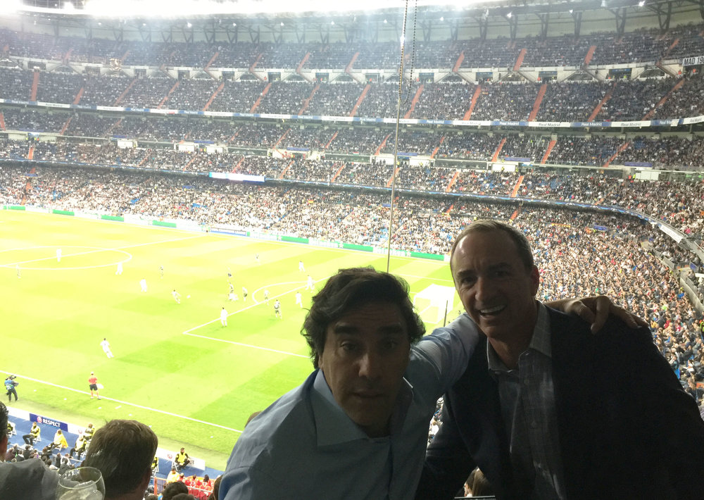 Carlos and Dario at the Champions League, Real Madrid vs Legia Warsaw game at the Santiago Bernabeu Stadium