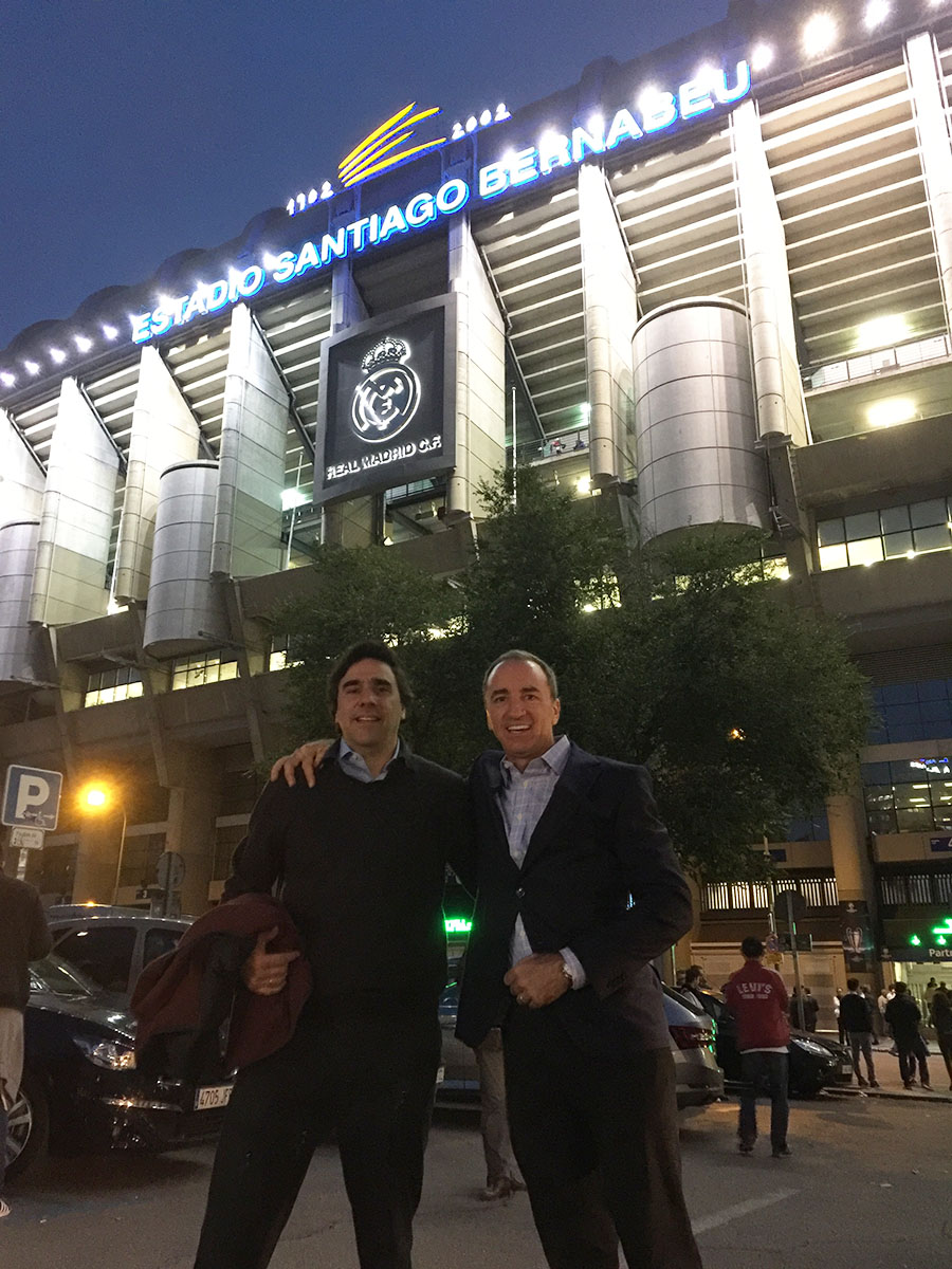 Carlos and Dario at the Santiago Bernabeu Stadium