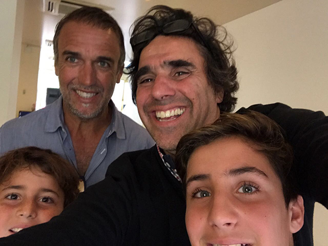 Gabriel Batistuta and Carlos with sons