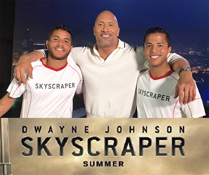Dwayne Johnson with the Jona's brothers promoting Skyscraper