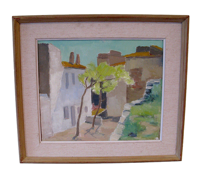 Danish landscape, oil on board: $850
