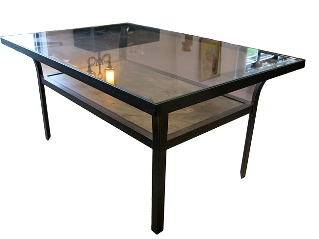 Steel and glass cocktail table
