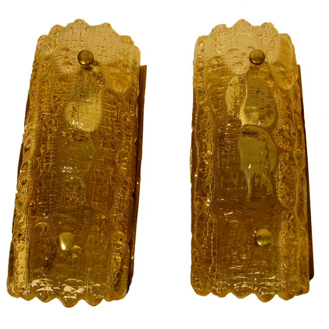 Gold art glass sconces