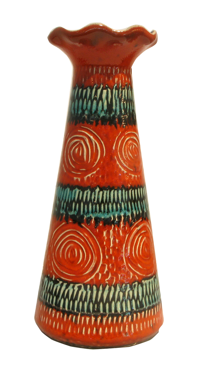 West German Pottery 525 in red-orange with teal