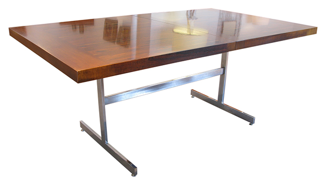 Rosewood dining table on chrome base
