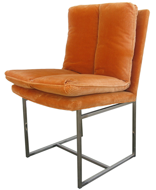 Dining chair in orange cordaroy