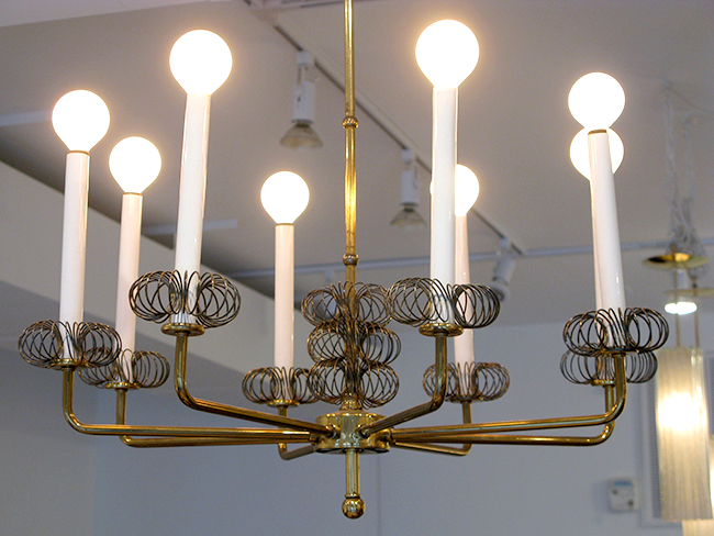 Eight light brass chandelier: $1400