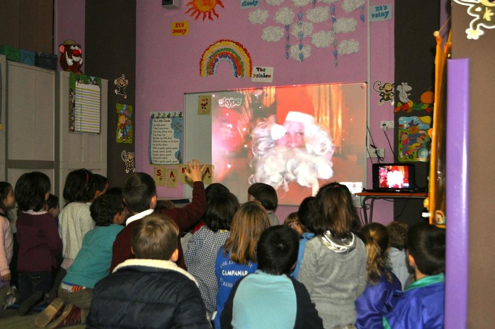Santa visiting a class in December