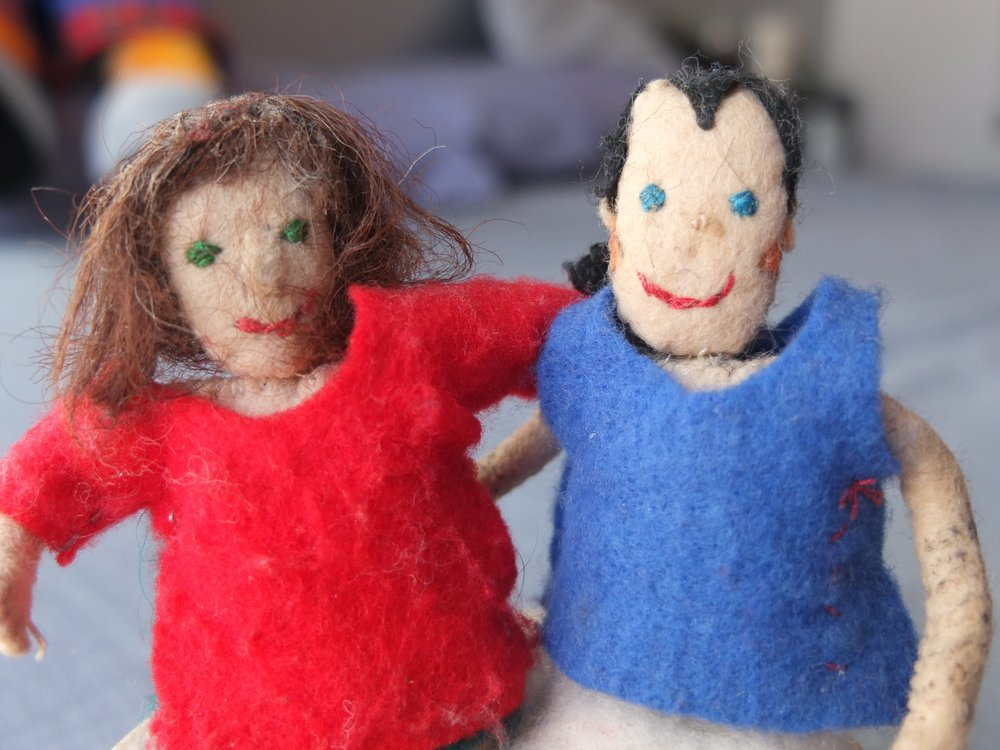 Chris and me - my favourite finger puppets that Chris made.