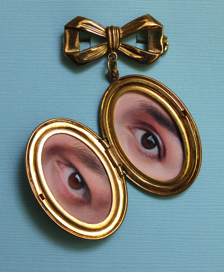 "Lover's Locket , gouache on paper in locket, 2.5x2.5"" total, 2014 by Diana Corvelle"